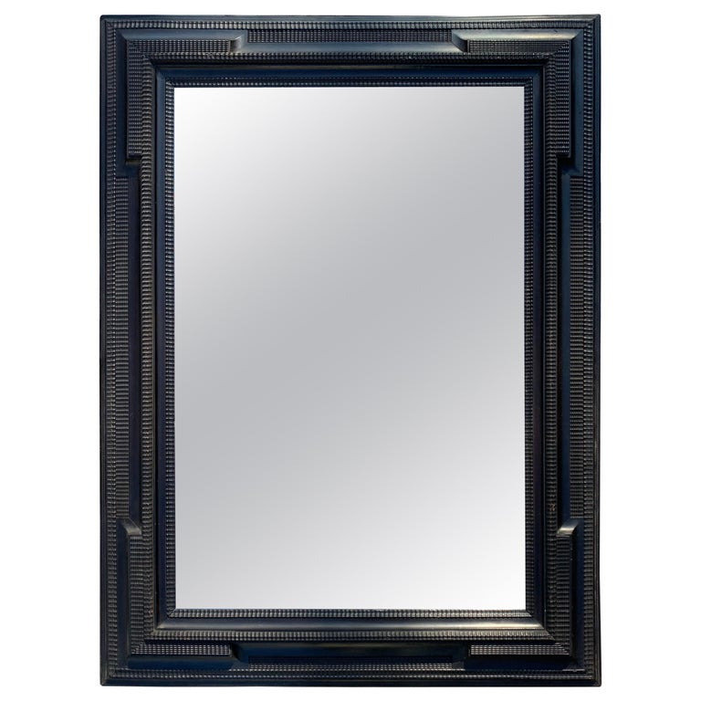 Large Dutch Style Black Framed Mirror For Sale