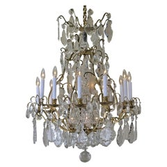 Large Earl 20th Century French Baccarat Style Bronze and Cut Crystal Chandelier