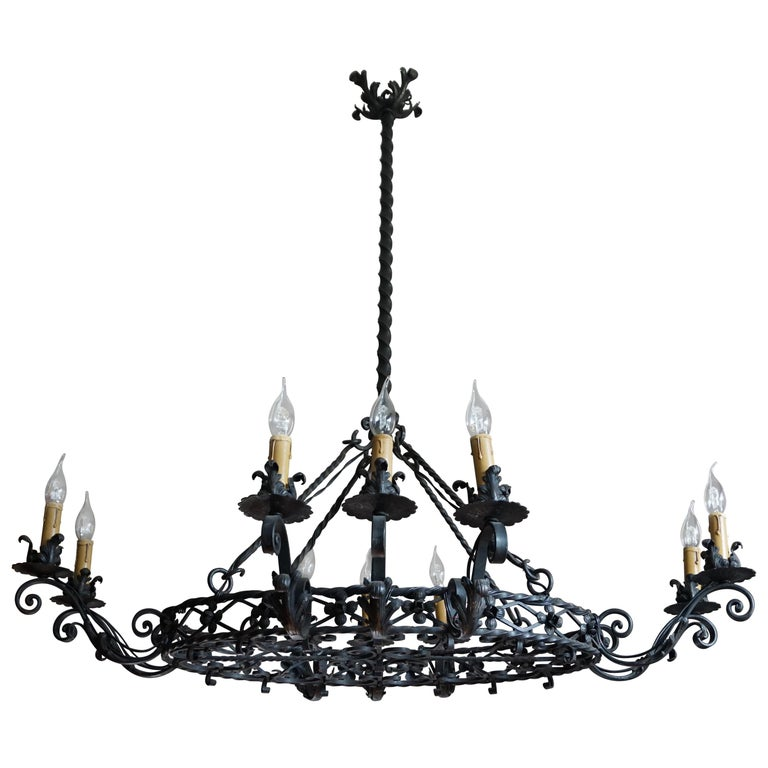 Large Early 1900s Hand Forged Wrought Iron Oval Dinner Table Chandelier Pendant