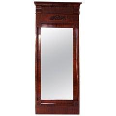 Large Early 19th Century Austrian Biedermeier Mahogany Framed Mirror