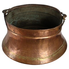 Large Early 19th C. Copper Bowl with Handle