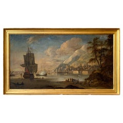 Large Early 19th Century Oil on Canvas Harbor Scene