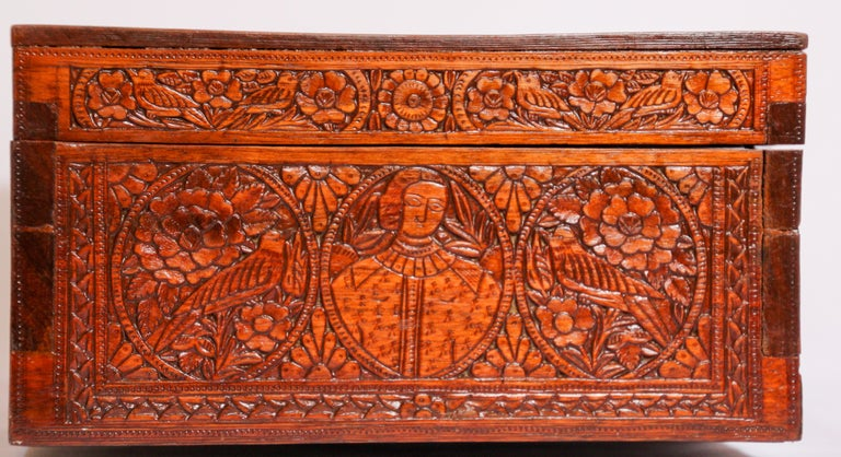 Large Early 19th Century Antique Hand Carved Wooden Mughal Decorative Box For Sale 8