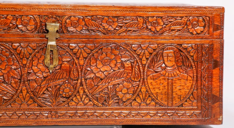 Indian Large Early 19th Century Antique Hand Carved Wooden Mughal Decorative Box For Sale