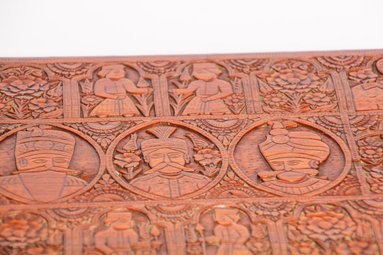 Large Early 19th Century Antique Hand Carved Wooden Mughal Decorative Box For Sale 3