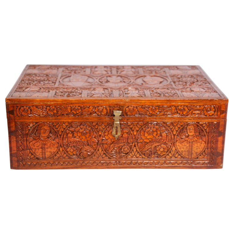 Large Early 19th Century Antique Hand Carved Wooden Mughal Decorative Box For Sale