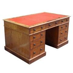 Large Early 19th Century Antique Pedestal Desk