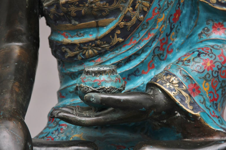 Large Early 19th Century Bronze and Cloisonne Buddha For Sale 6
