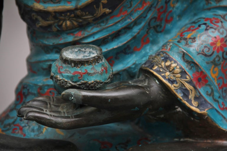 Large Early 19th Century Bronze and Cloisonne Buddha For Sale 7