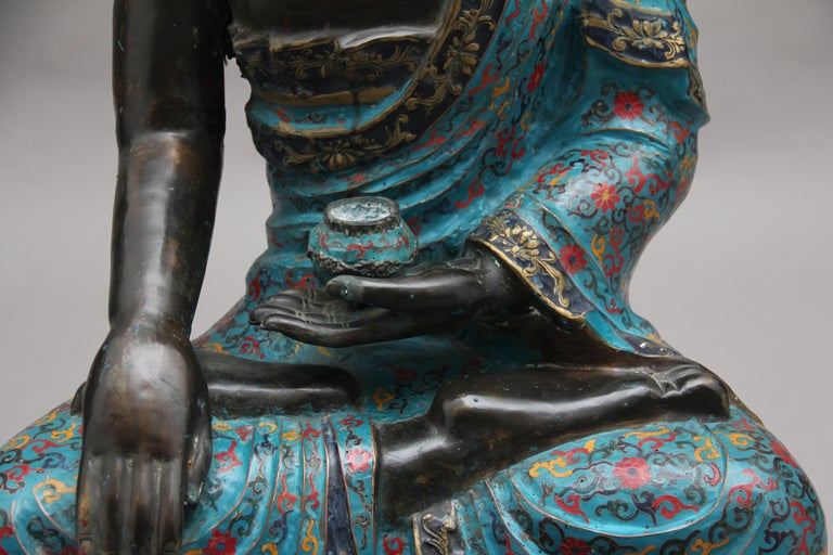 Large Early 19th Century Bronze and Cloisonne Buddha For Sale 8
