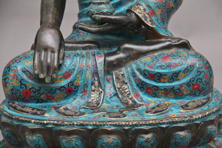 Large Early 19th Century Bronze and Cloisonne Buddha For Sale 9