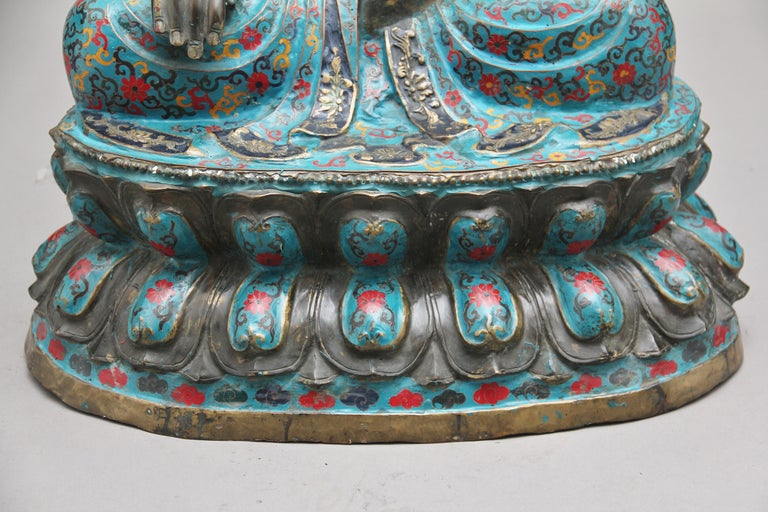 Large Early 19th Century Bronze and Cloisonne Buddha For Sale 10