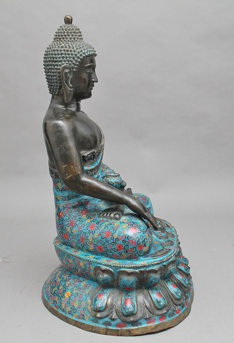 Chinese Large Early 19th Century Bronze and Cloisonne Buddha For Sale
