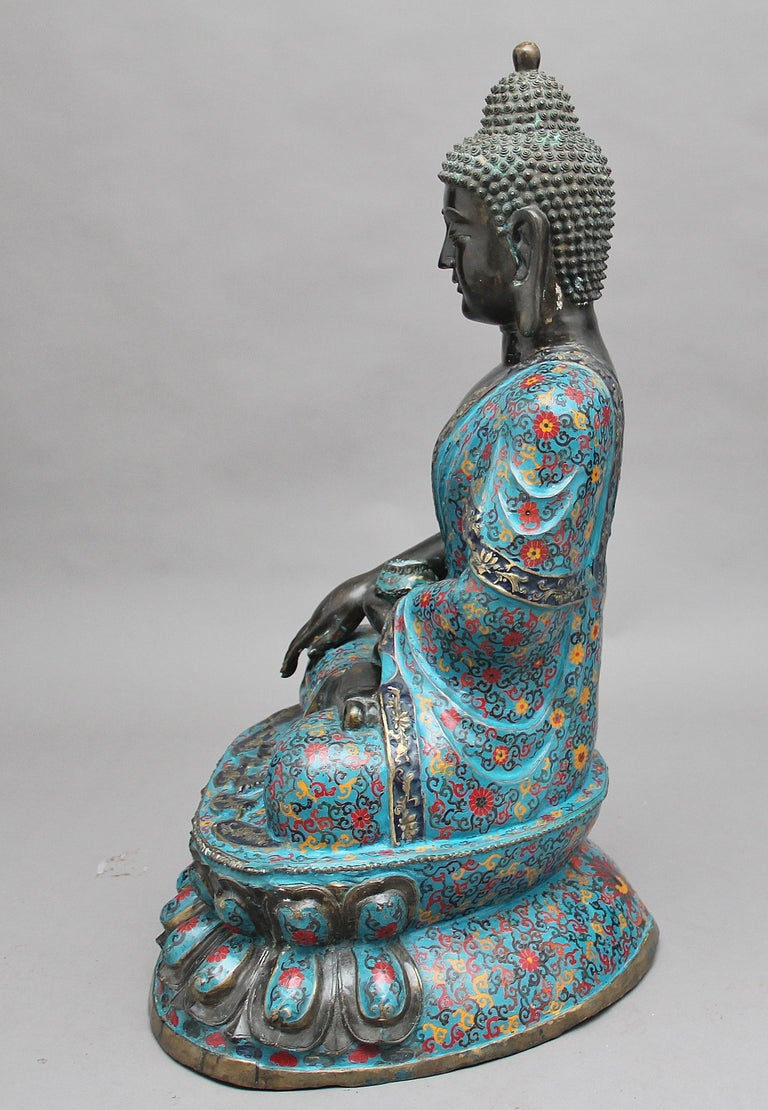 Large Early 19th Century Bronze and Cloisonne Buddha For Sale 1