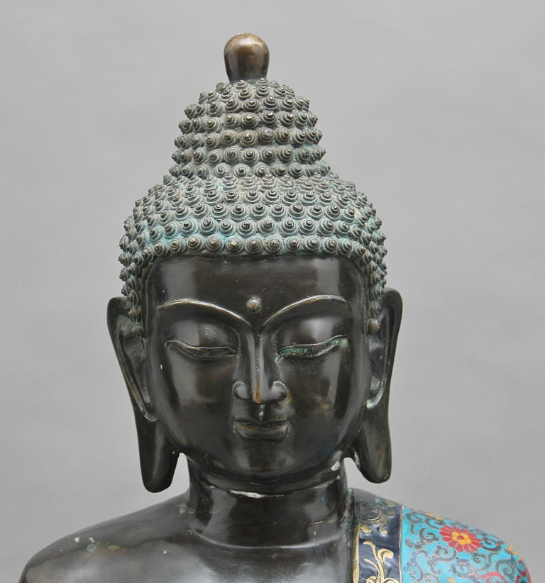 Large Early 19th Century Bronze and Cloisonne Buddha For Sale 2