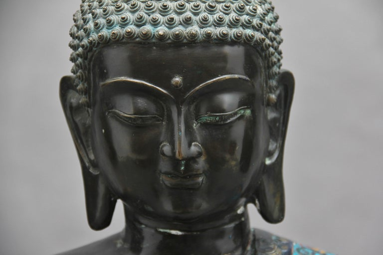 Large Early 19th Century Bronze and Cloisonne Buddha For Sale 3