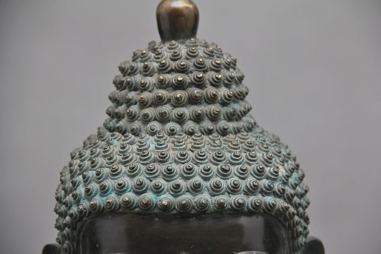 Large Early 19th Century Bronze and Cloisonne Buddha For Sale 4