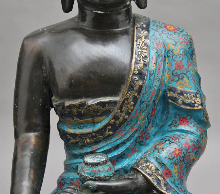 Large Early 19th Century Bronze and Cloisonne Buddha For Sale 5