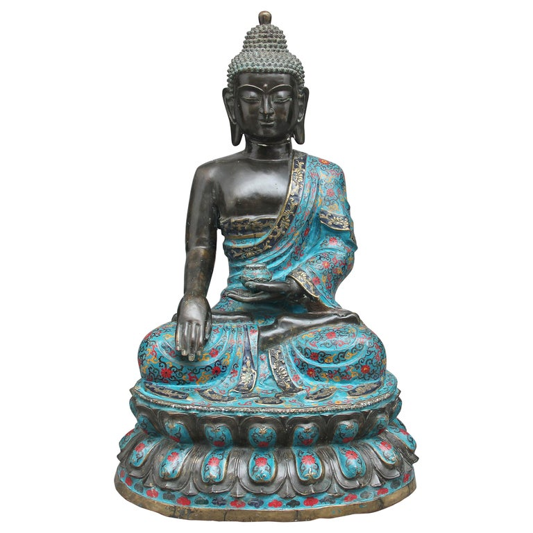 Large Early 19th Century Bronze and Cloisonne Buddha For Sale