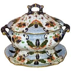 Large Early 19th Century Davenport Longport Imari China Dinner Service