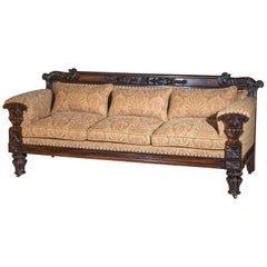 Large Early 19th Century English Regency 3-Seat Sofa Settee