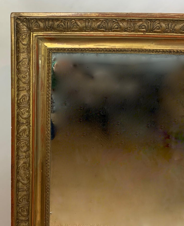 Neoclassical Large Early 19th Century French Carved Giltwood Mirror