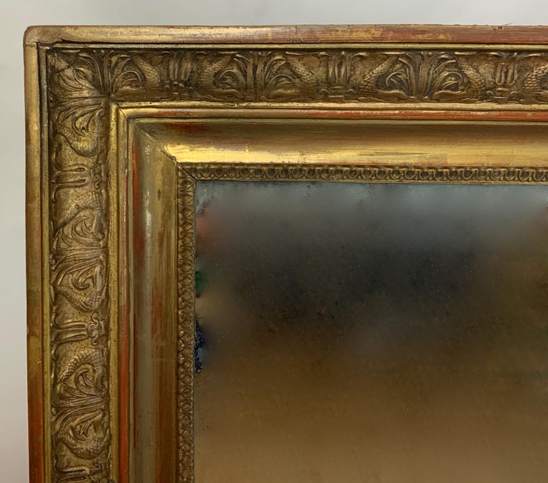 Hand-Carved Large Early 19th Century French Carved Giltwood Mirror