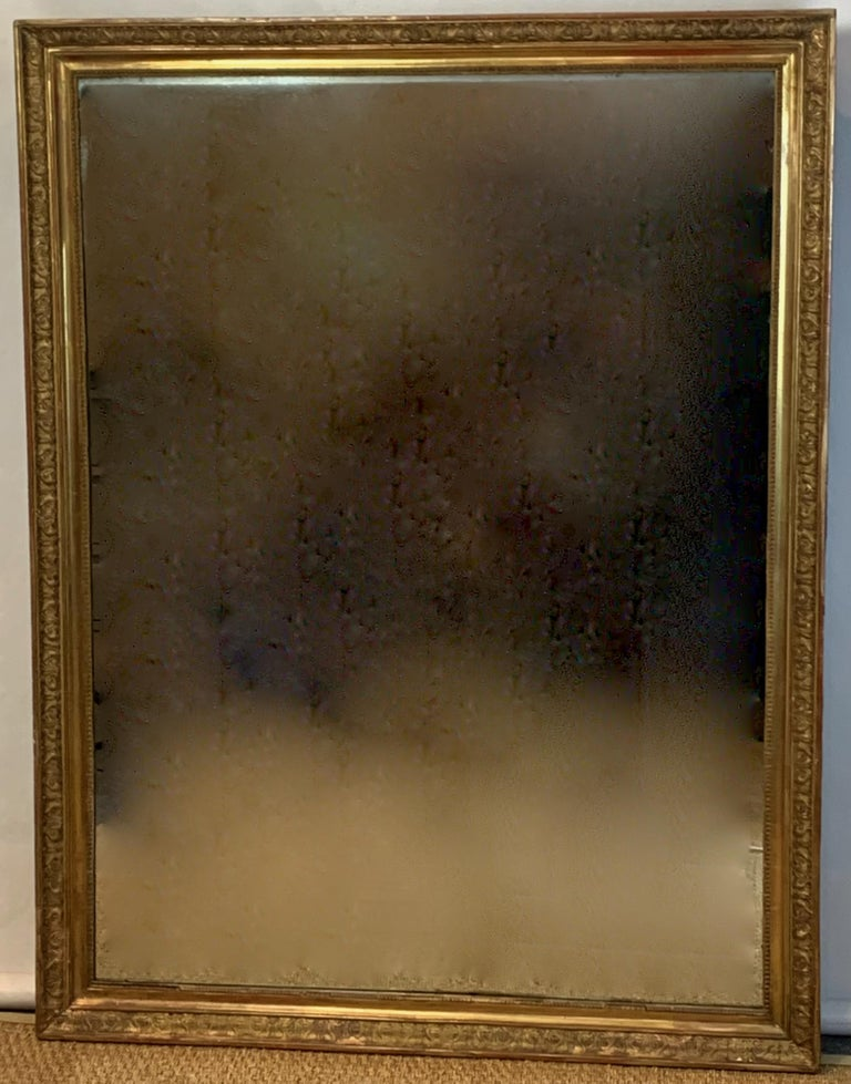 Wood Large Early 19th Century French Carved Giltwood Mirror