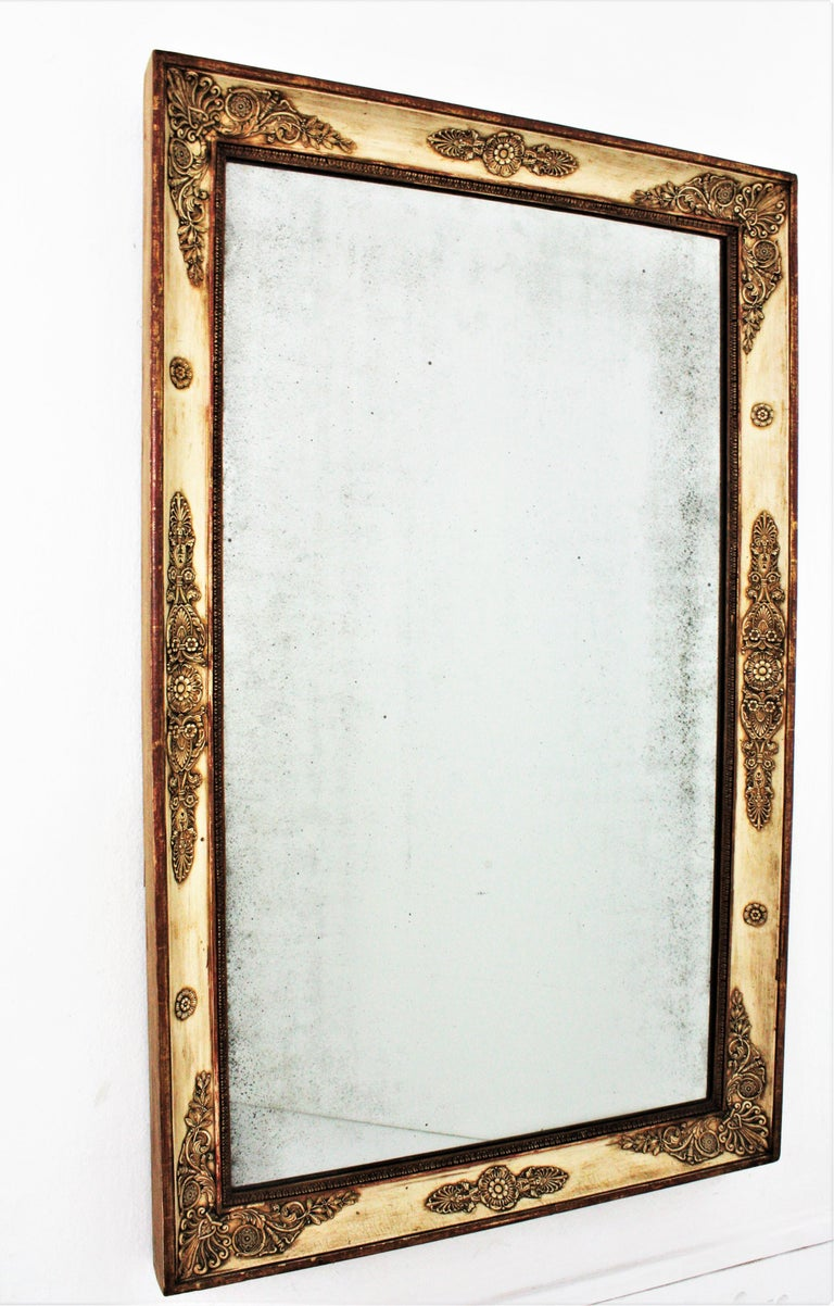 Large Early 19th Century French Empire Parcel-Gilt Beige Rectangular Mirror For Sale 6