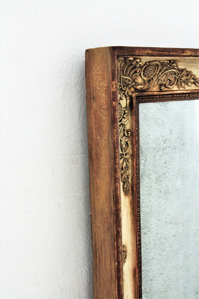 Large Early 19th Century French Empire Parcel-Gilt Beige Rectangular Mirror For Sale 7
