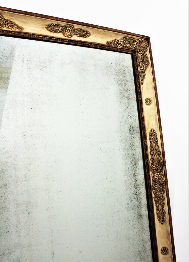 Large Early 19th Century French Empire Parcel-Gilt Beige Rectangular Mirror For Sale 9