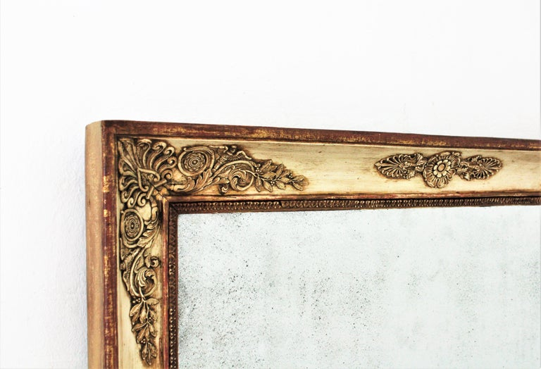 Gesso Large Early 19th Century French Empire Parcel-Gilt Beige Rectangular Mirror For Sale
