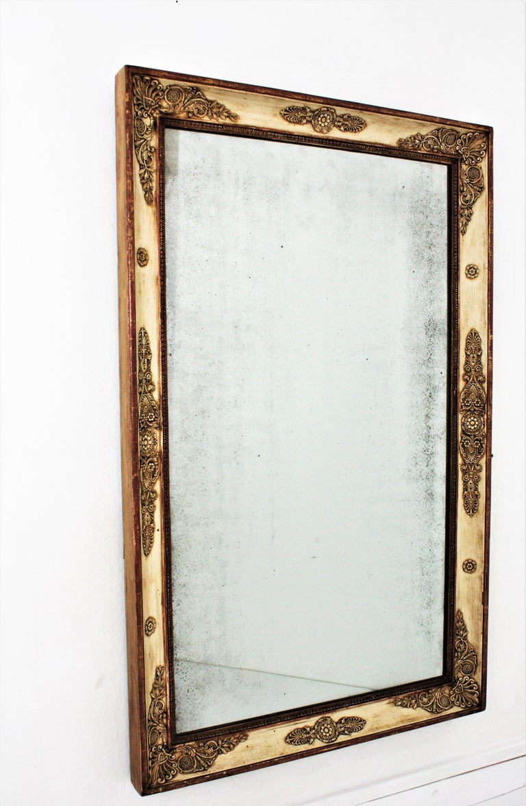 Large Early 19th Century French Empire Parcel-Gilt Beige Rectangular Mirror For Sale 1