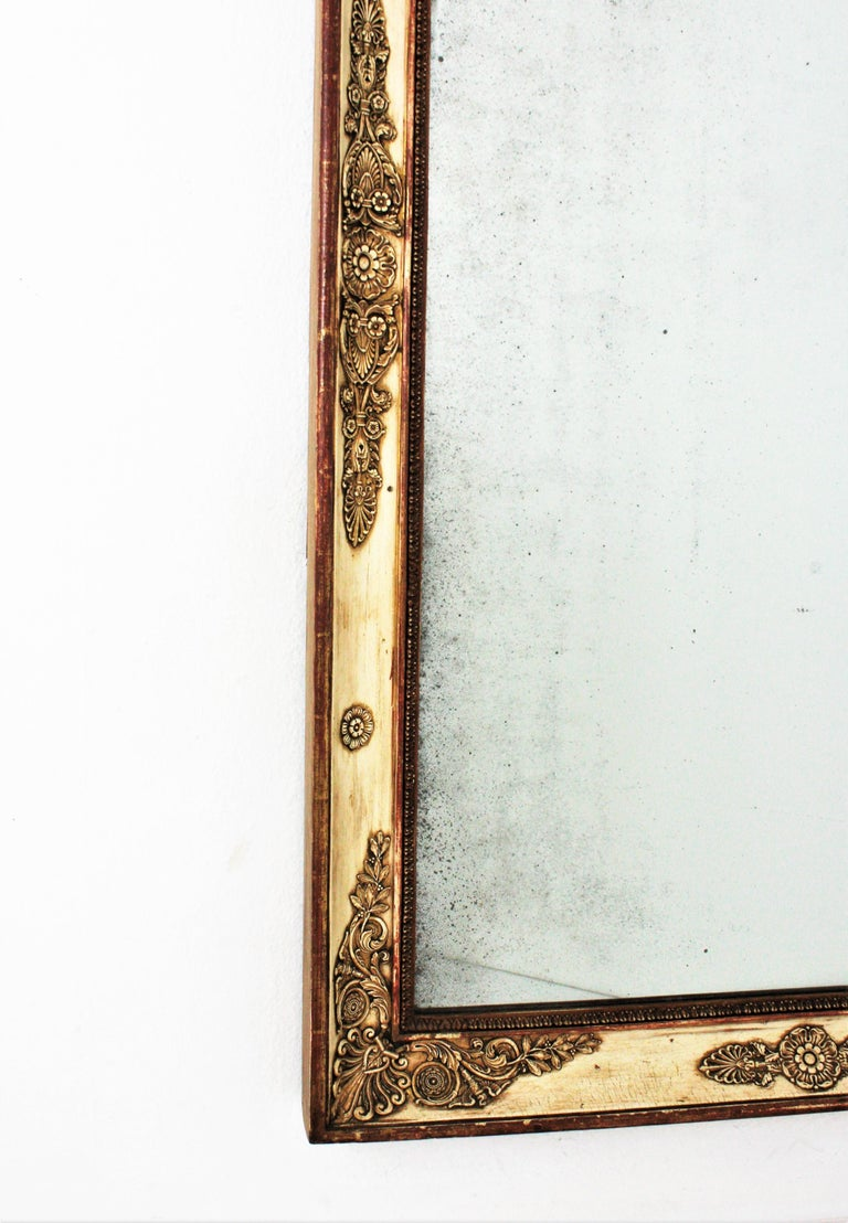 Large Early 19th Century French Empire Parcel-Gilt Beige Rectangular Mirror For Sale 3