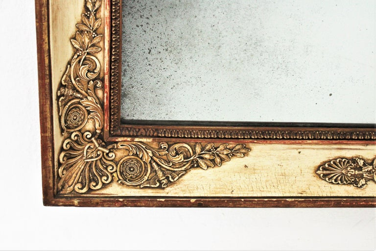 Large Early 19th Century French Empire Parcel-Gilt Beige Rectangular Mirror For Sale 4