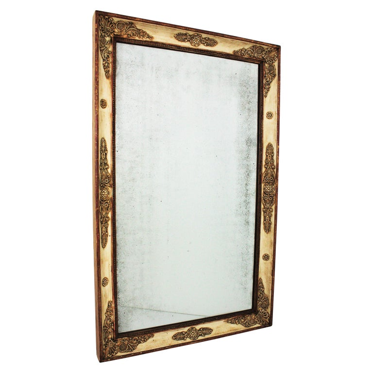 Large Early 19th Century French Empire Parcel-Gilt Beige Rectangular Mirror For Sale