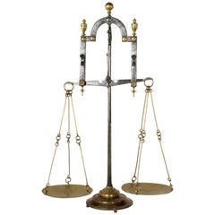 Large Early 19th Century Italian Iron and Brass Set of Scales