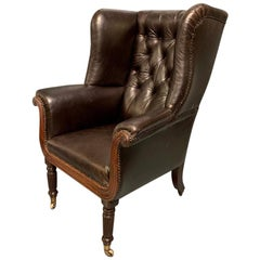 Large Early 19th Century Regency Buttoned Leather Wing Armchair on Castors