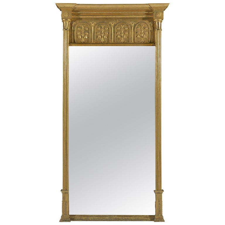 Large Early 19th Century Regency Period Giltwood Pier Mirror For Sale