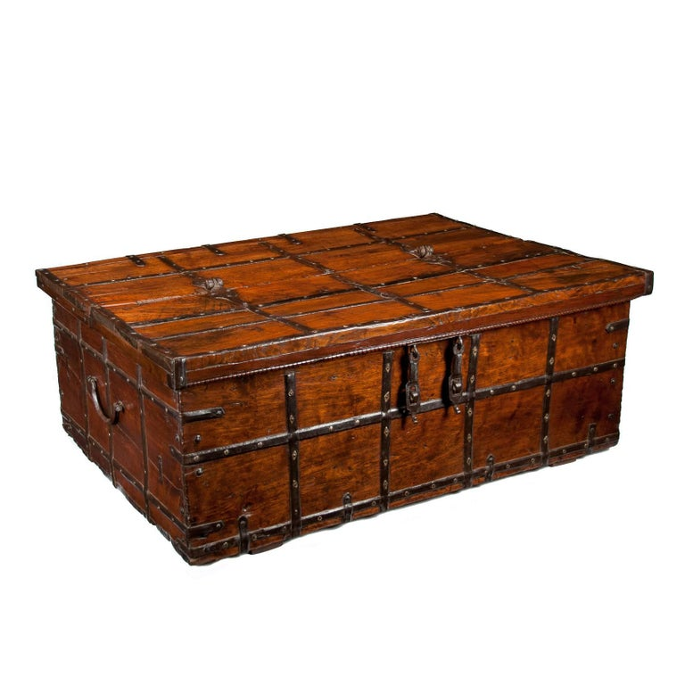 Large Early 19th Century Teak Anglo-Indian Iron Strapped Chest, Trunk