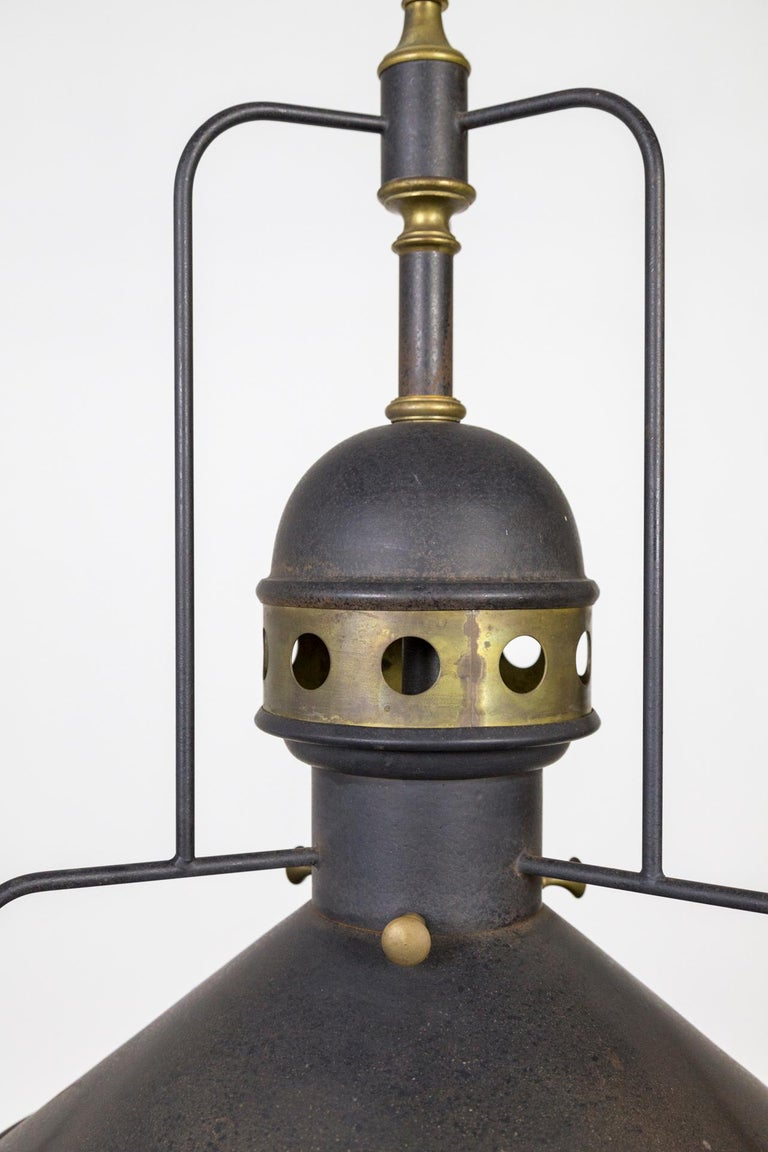 North American Large Early 20th Century Industrial Cog Pendant Light For Sale