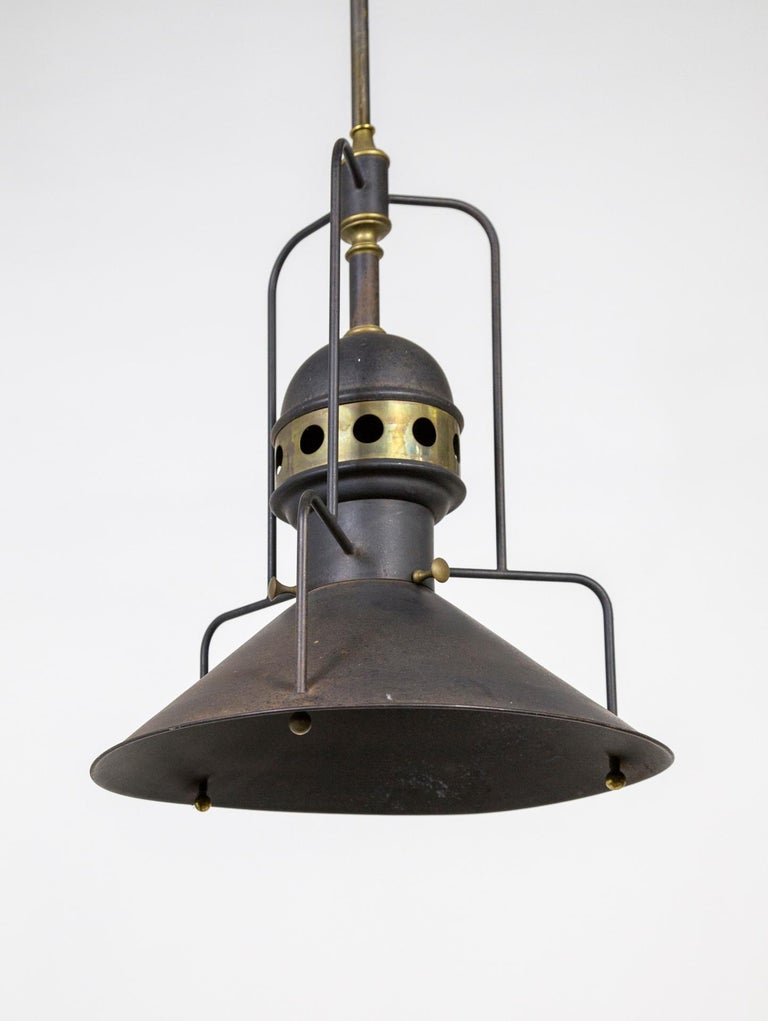 Large Early 20th Century Industrial Cog Pendant Light For Sale 1