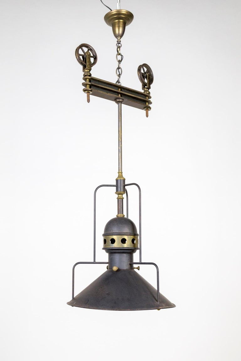 Large Early 20th Century Industrial Cog Pendant Light For Sale 4