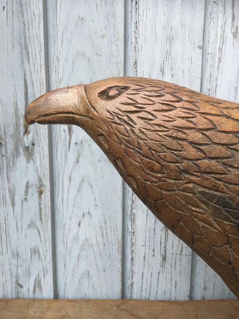 Large Early 20th Century Belgian Oak Folk Art Eagle Sculpture For Sale 6