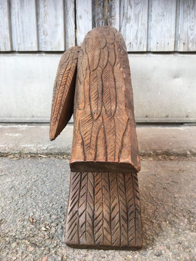 Large Early 20th Century Belgian Oak Folk Art Eagle Sculpture For Sale 9