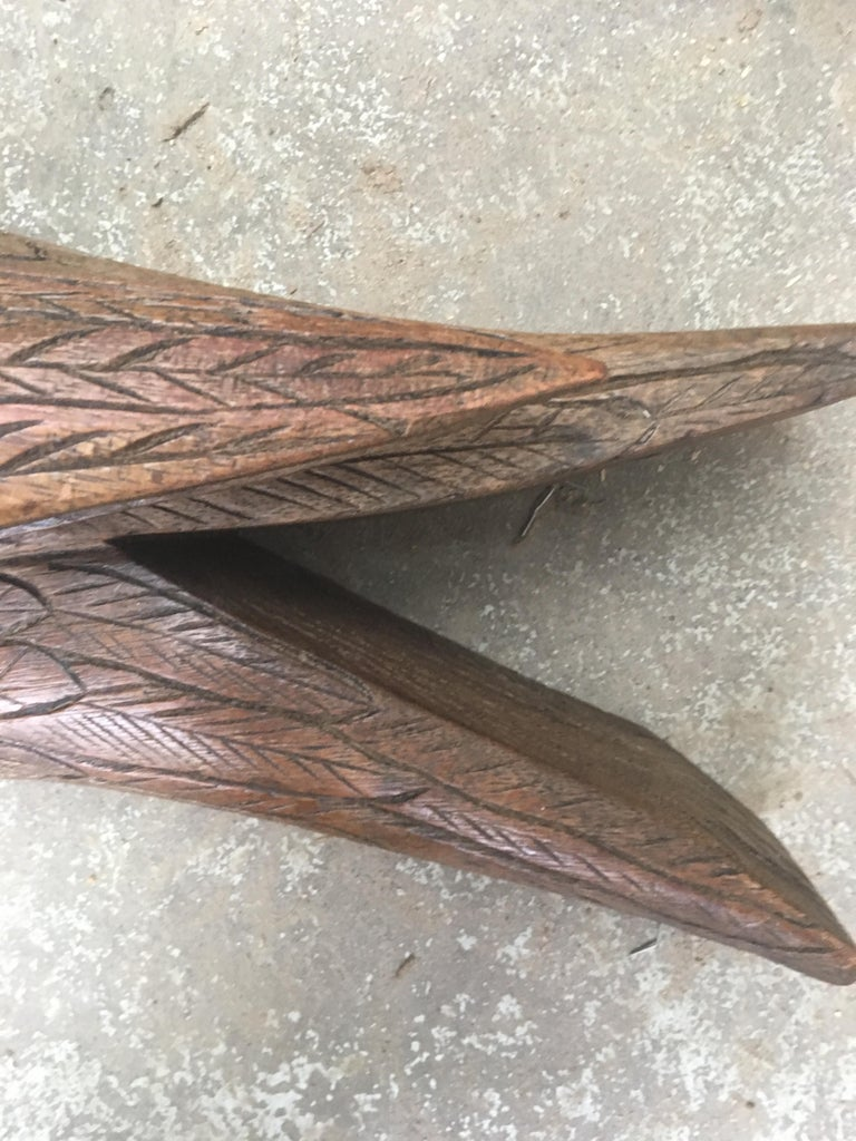 Large Early 20th Century Belgian Oak Folk Art Eagle Sculpture For Sale 4