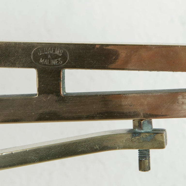 Large Early 20th Century Belgian Set of Brass Scales on Walnut Base with Weights For Sale 5