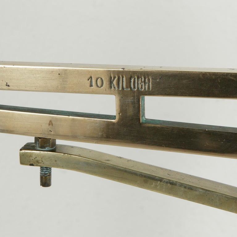 Large Early 20th Century Belgian Set of Brass Scales on Walnut Base with Weights For Sale 6