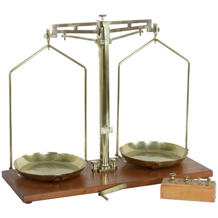 Large Early 20th Century Belgian Set of Brass Scales on Walnut Base with Weights For Sale