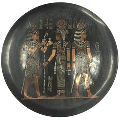 Large Early 20th Century Egyptian Revival Copper Plaque Charger Sculpture